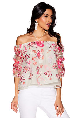 Off-the-shoulder embroidered floral lace top
