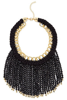 Black fringe beaded necklace