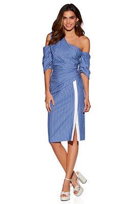 Asymmetric stripe one-shoulder dress