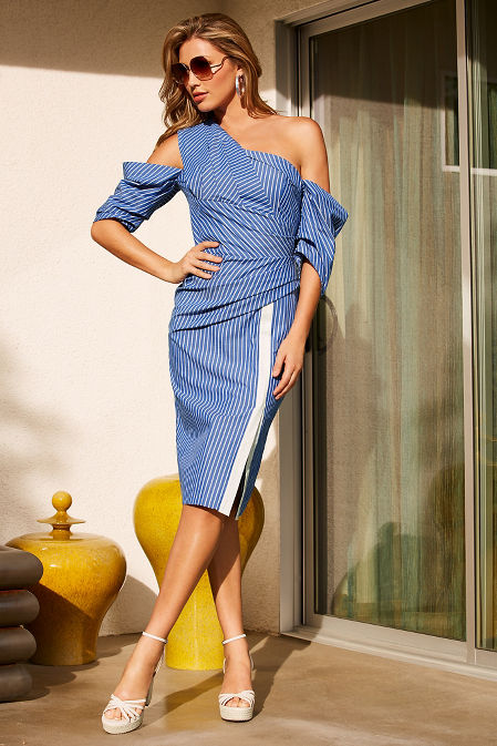 Asymmetric stripe one-shoulder dress image