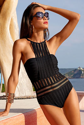 Crochet high neck maillot