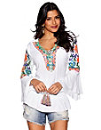 Neon Embroidered Tassel Tunic Top Photo
