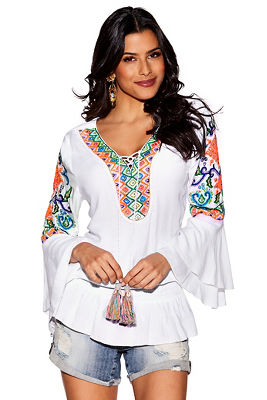 Neon embroidered tassel tunic top