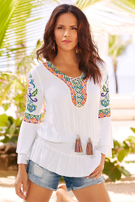 Neon embroidered tassel tunic top image
