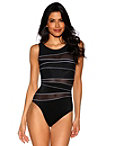 Mesh Stripe One-piece Swimsuit Photo