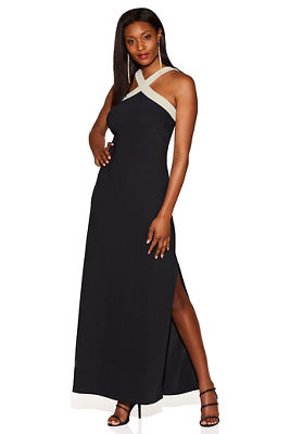Beyond Travel & #8482 Colorblock X-neck Maxi Dress