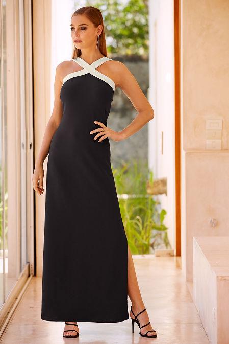 Beyond travel™ colorblock x-neck maxi dress image