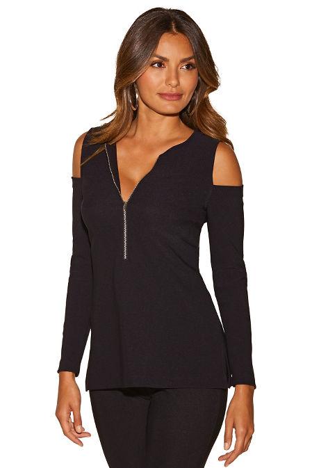 Beyond travel™ cold shoulder zip long-sleeve image