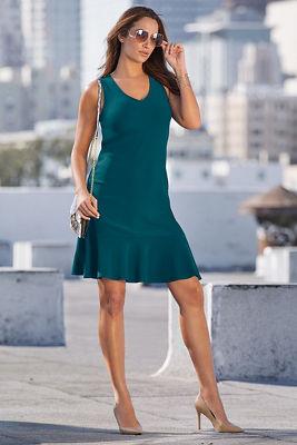 Beyond travel™ v-neck flutter dress