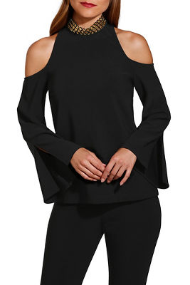 beyond travel™ choker cold shoulder flare sleeve top