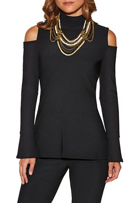 Beyond travel™ cold shoulder turtleneck top