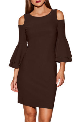 Display product reviews for Beyond travel™ flare sleeve cold-shoulder dress