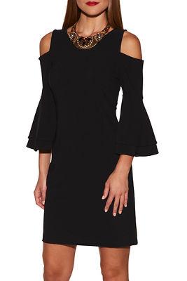 Beyond travel™ flare sleeve cold-shoulder dress