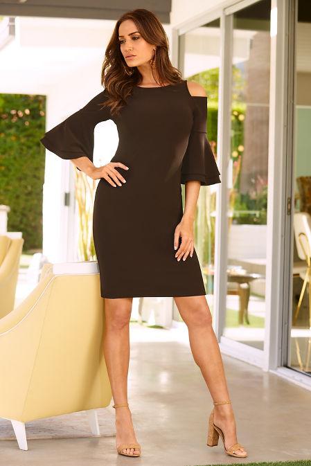 Beyond travel™ flare sleeve cold-shoulder dress image