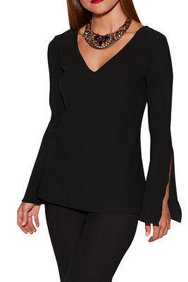 Beyond travel™ v-neck flare-sleeve top