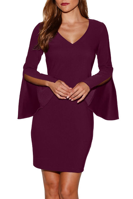 Beyond travel™ v-neck flare sleeve dress image