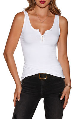 henley ribbed tank top