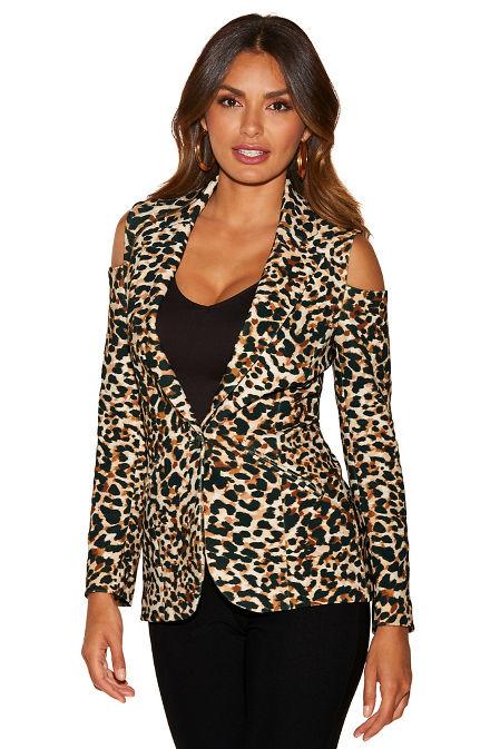 Beyond travel™ animal cold-shoulder jacket image