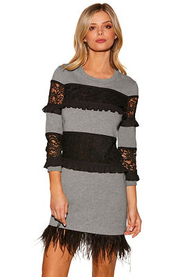 Feather lace sweatshirt dress