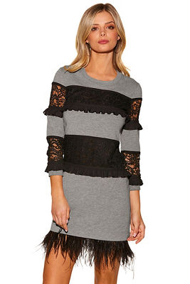 Feather lace sweatshirt dress
