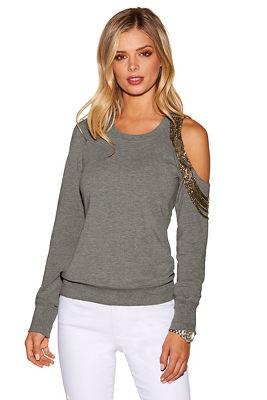 one shoulder beaded sweatshirt
