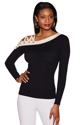 Asymmetric lace-up colorblock sweater