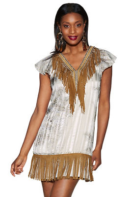 Display product reviews for Beaded fringe python dress