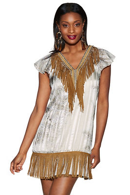 Beaded fringe python dress