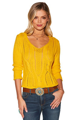 Cable detail lace-up sweater