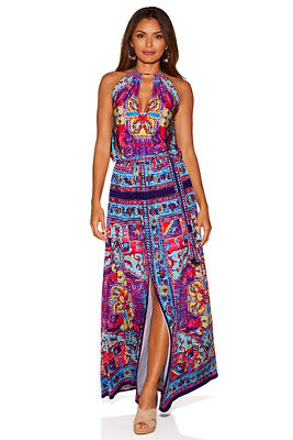 Colorful border print maxi dress