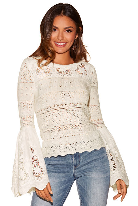Crochet lace bell-sleeve sweater image