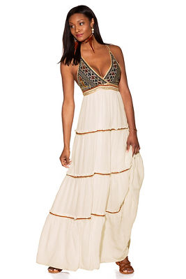 Embroidered triangle maxi dress