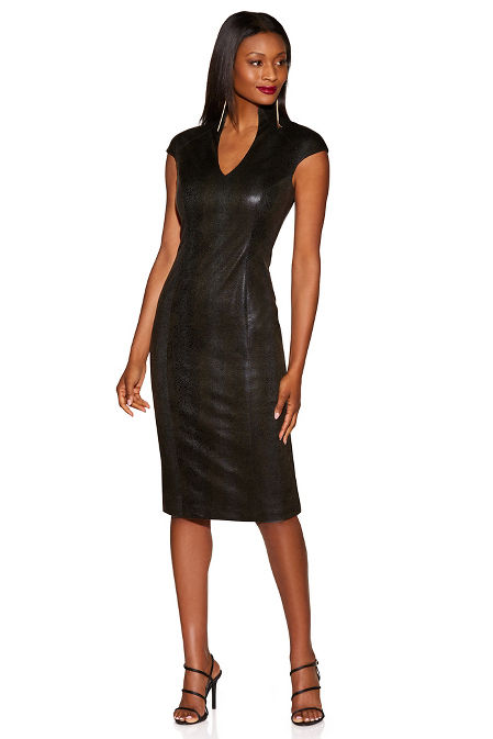 Vegan leather sheath dress image