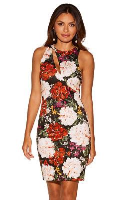 Floral cutout scuba dress