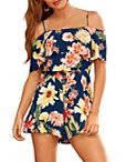 Floral Printed Cold-shoulder Romper Photo
