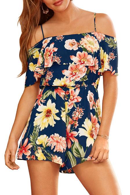 Floral printed cold-shoulder romper image