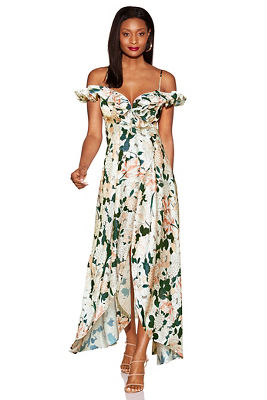 Floral ruffle cold-shoulder maxi dress