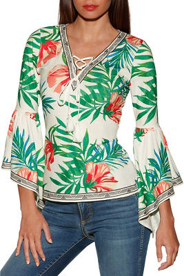Flare sleeve tropical ribbed top