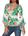 Flare Sleeve Tropical Ribbed Top Photo