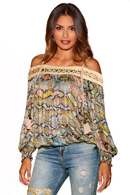 Jeweled snake print cold-shoulder top