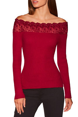 Lace off-the-shoulder ribbed sweater