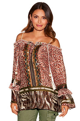 Mixed print braided strap blouse
