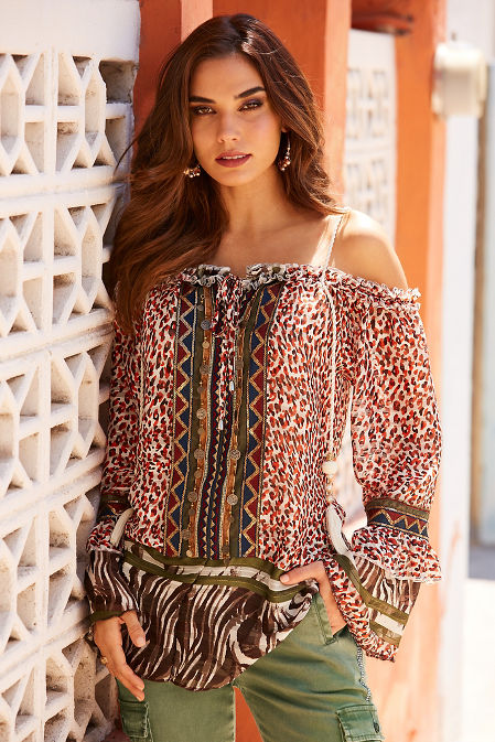 Mixed print braided strap blouse image