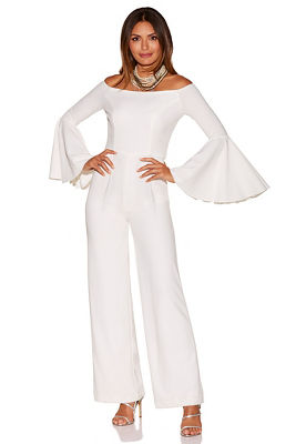 Off-the-shoulder flare-sleeve jumpsuit