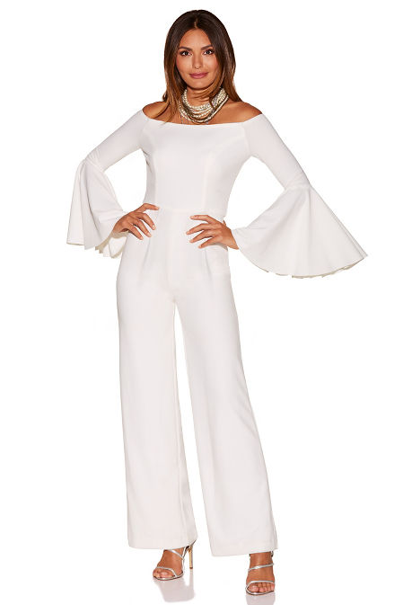 Off-the-shoulder flare-sleeve jumpsuit image