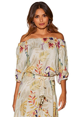 Paradise print off-the-shoulder top