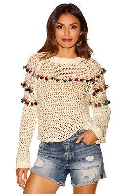 Pom-pom open knit sweater