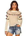 Pom-pom Open Knit Sweater Photo