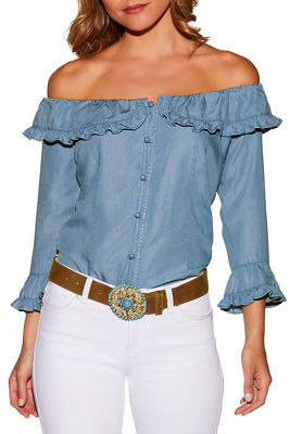Ruffle button up off-the-shoulder denim blouse