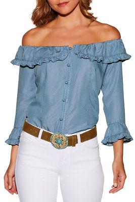 ruffle button up off-the-shoulder denim blouse